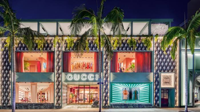 The Beverly Hills Gucci store, with Gucci Osteria on its roof