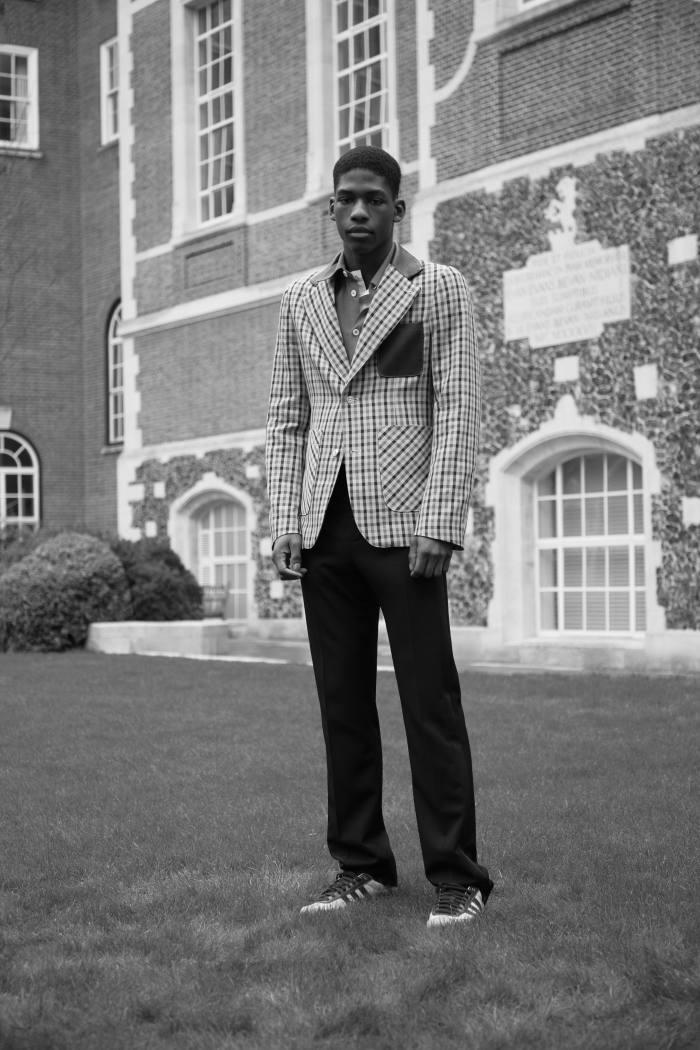 Wales Bonner wool Kalimba blazer, POA, brushed cotton flannel Aubrey overshirt, £365, and wool trousers, POA