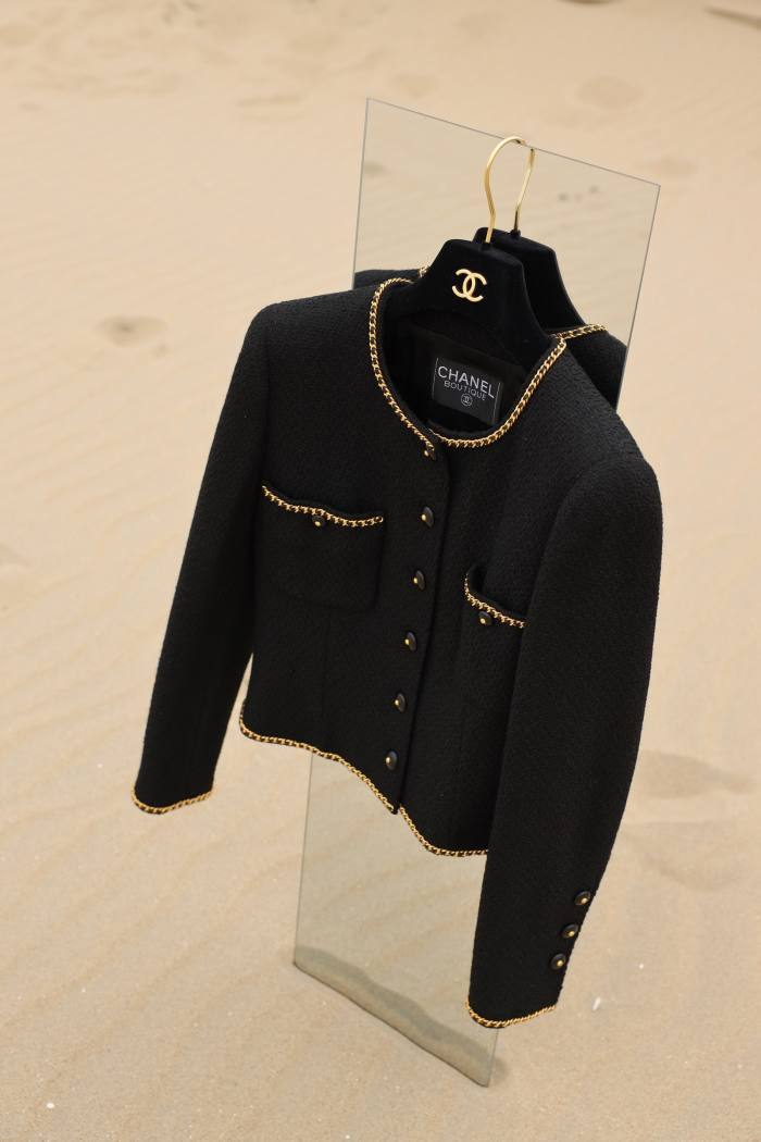 Chanel collarless little black jacket from the 1995 autumn/winter collection