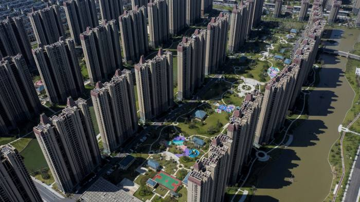 Apartment buildings and recreational facilities at China Evergrande Group's Life in Venice real estate and tourism development in Qidong