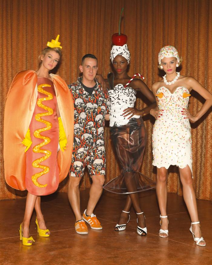 Food-inspired looks from Moschino resort '22 by the brand's creative director Jeremy Scott (second from left)