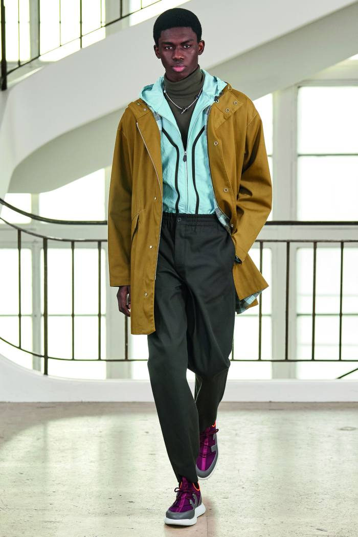 Hermès technical fabric parka, £4,150, technical canvas sweatshirt, £3,350, cashmere and silk turtleneck, £1,320, and technical fabric trousers, £820