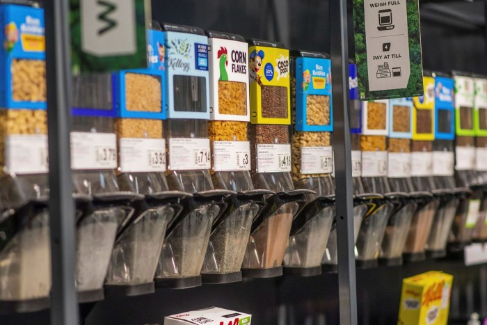 Kellogg cereal dispensers in a supermarket. The US food producer has established a framework for issuing sustainability bonds
