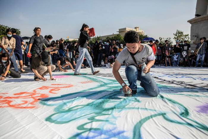 """Students and protesters rally during """"Mob Fest"""", an anti-government music and arts festival in November"""