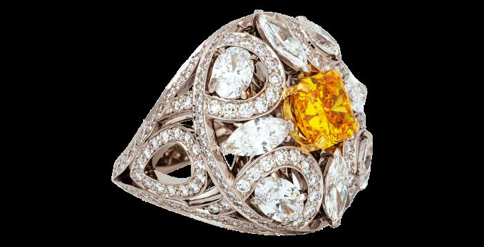Boodles 1.68ct vivid orange-yellow diamond, platinum and 19ct-yellow-gold Scroll Design ring, POA