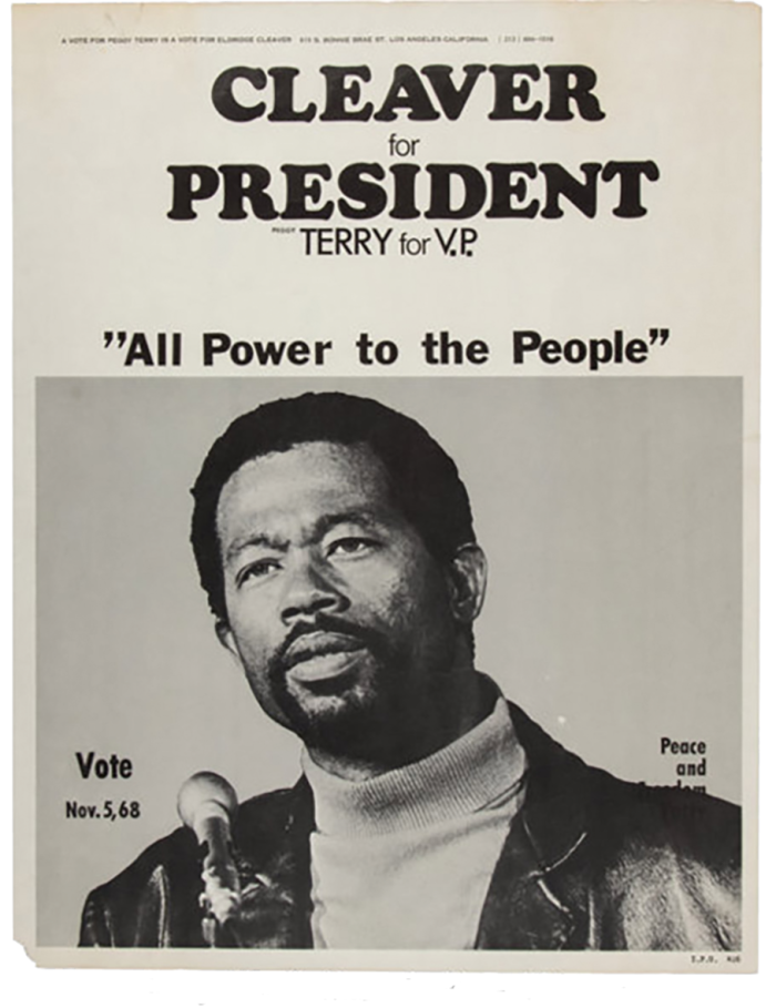 An Eldridge Cleaver poster, part of his collection of losing presidential candidates' posters
