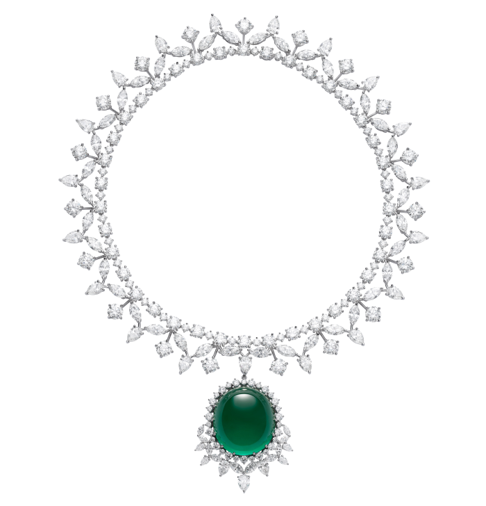 Chopardnecklace fromThe Red Carpetcollection in ethical Fairmined-certified 18-carat white gold featuring an emerald cabochon