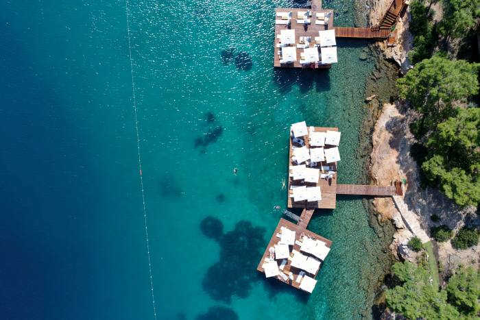 The swim jetties at Bodrum Loft