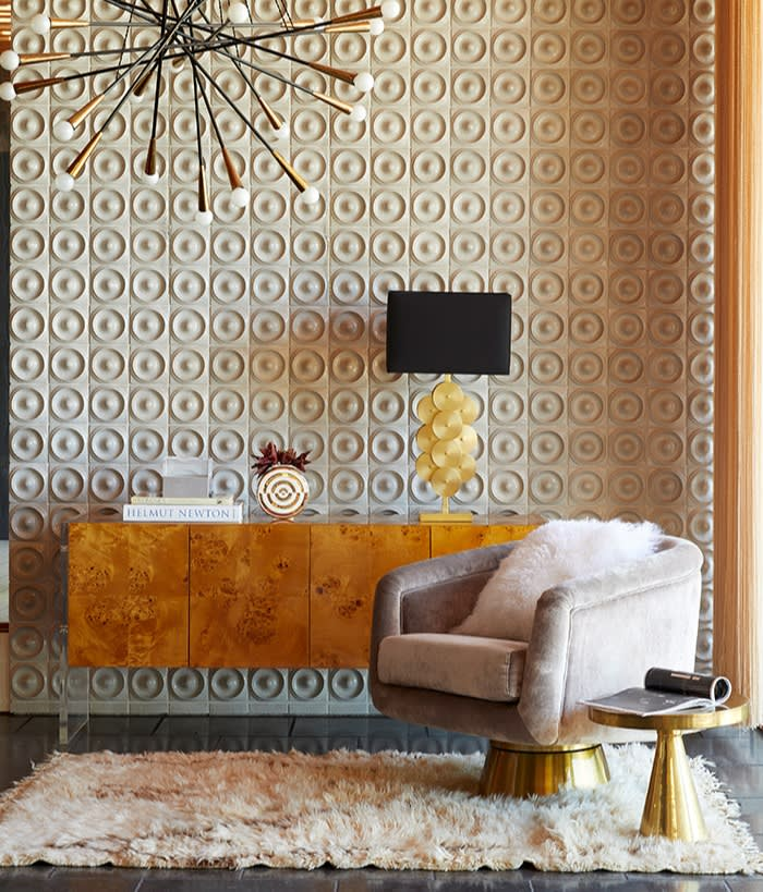 Bacharach swivel chair, Bond console and Puzzle lamp from Jonathan Adler