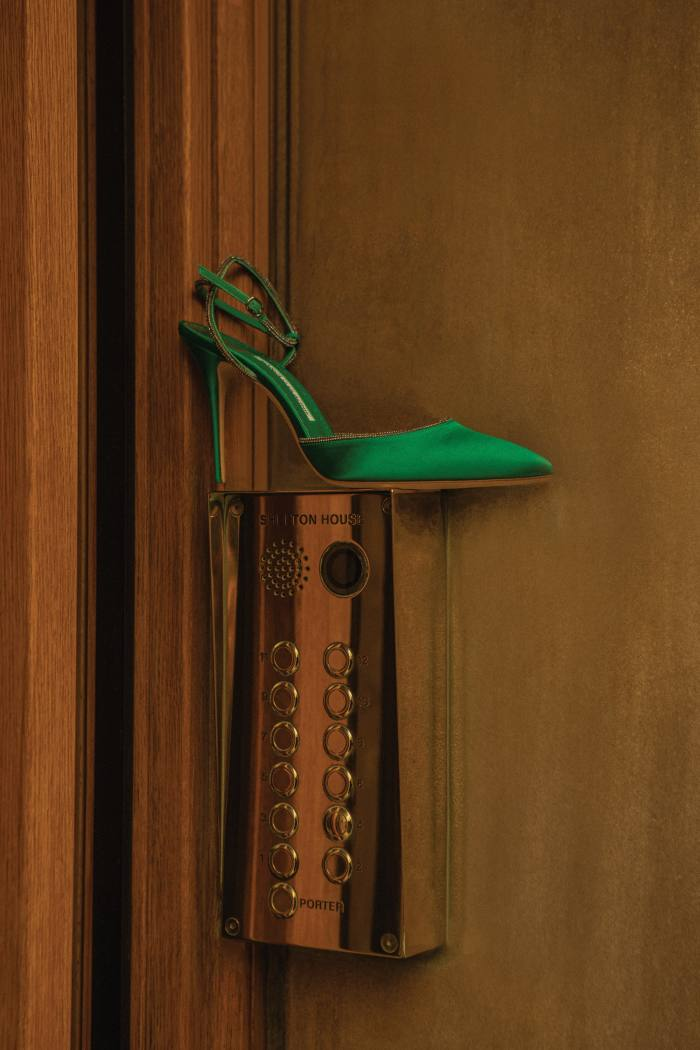Manolo Blahnik leather Susidad shoes, £725, and satin Narcona shoes, £875