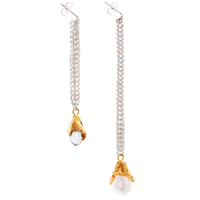 Alighieri silver, crystal and freshwater-pearl The Greatest Flame from the Smallest Spark earrings, £375