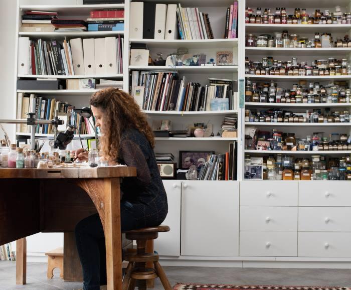Anita Porchet at work in her studio outside Geneva