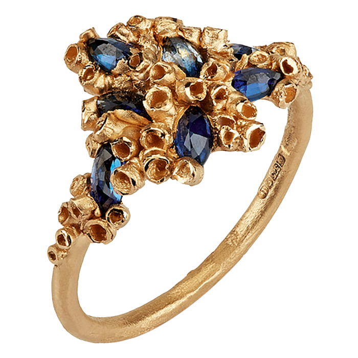 Ami Pepper 9ct-gold and sapphire Pembrokeshire Rock Pool ring, £1,400