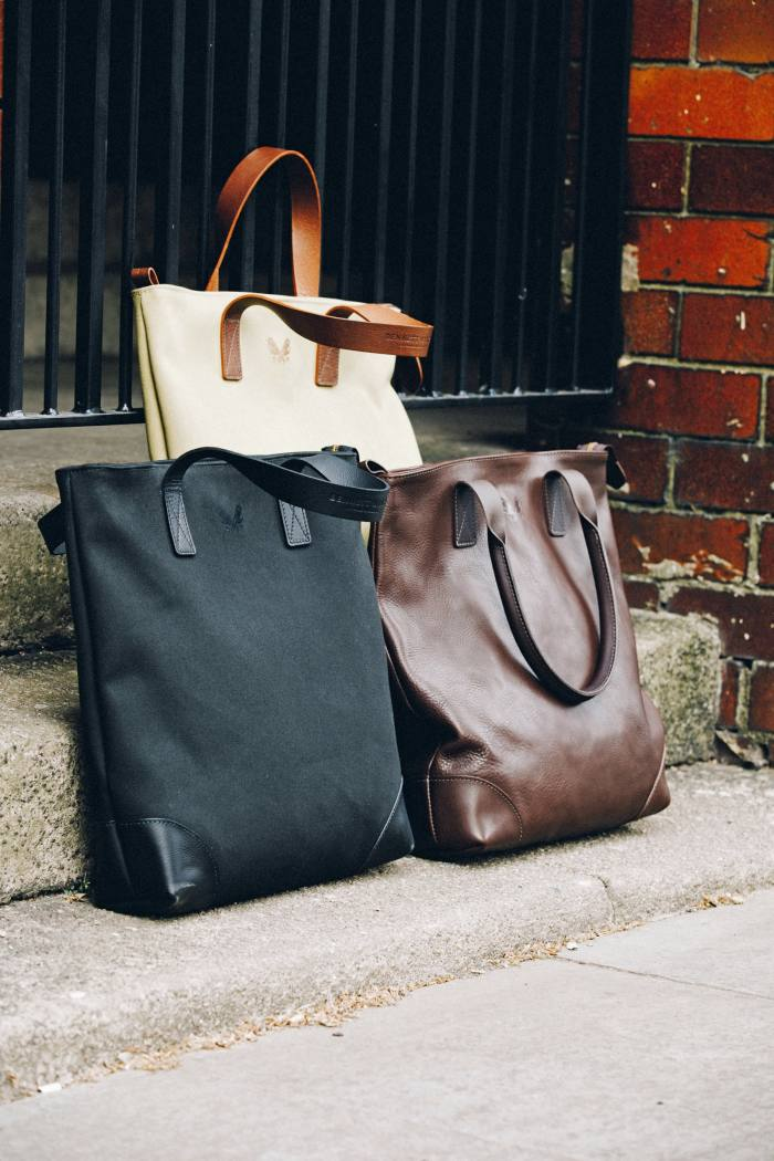 Bennett Winch Tote bags incotton canvas, £325, and leather, £575