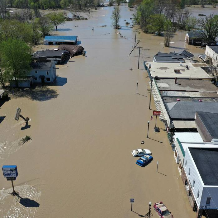 Flooding in Sanford, Michigan in 2020 after nearby dams collapsed