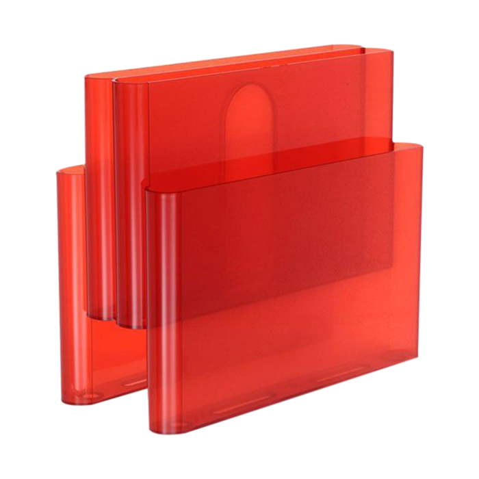 A red four-pocket version of a magazine holder designed for Kartell in 1971