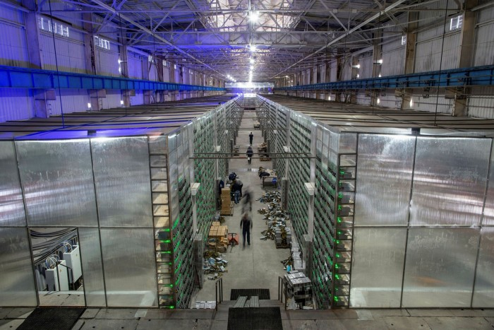 Mining rigs at a cryptocurrency farm in Russia
