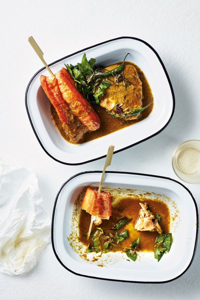 Spanish mackerel curry with fried bread