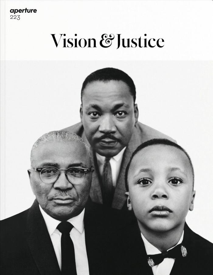 Cover of Aperture magazine's summer 2016 issue, Vision & Justice, featuring Richard Avedon's Martin Luther King, Jr., civil rights leader, with his father, Martin Luther King, Baptist minister, and his son, Martin Luther King III, Atlanta, Georgia, March 22, 1963