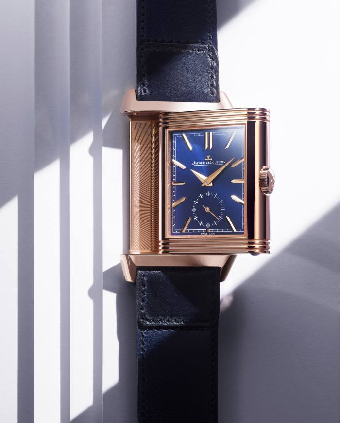 The 2019 Reverso Tribute Duoface Fagliano in pink gold with blue face