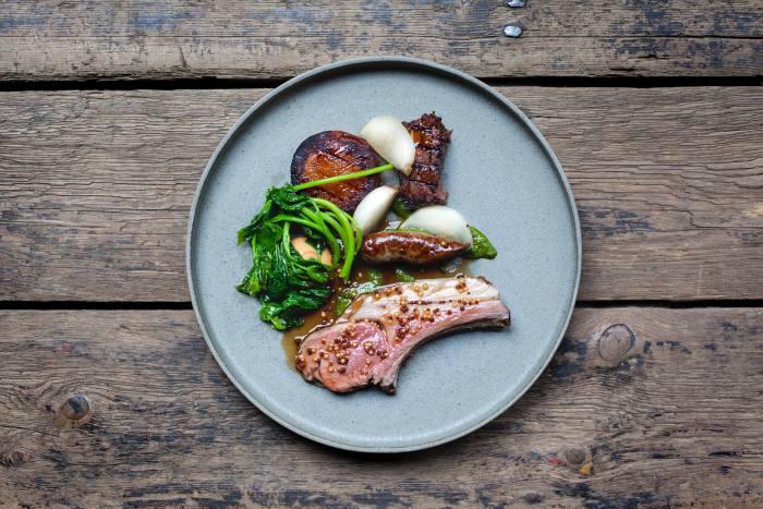 Lamb chops, sausage and belly with turnip, garlic and mustard at Timberyard