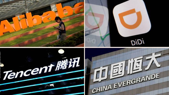Logos of Alibaba, Didi, Tencent and Evergrande