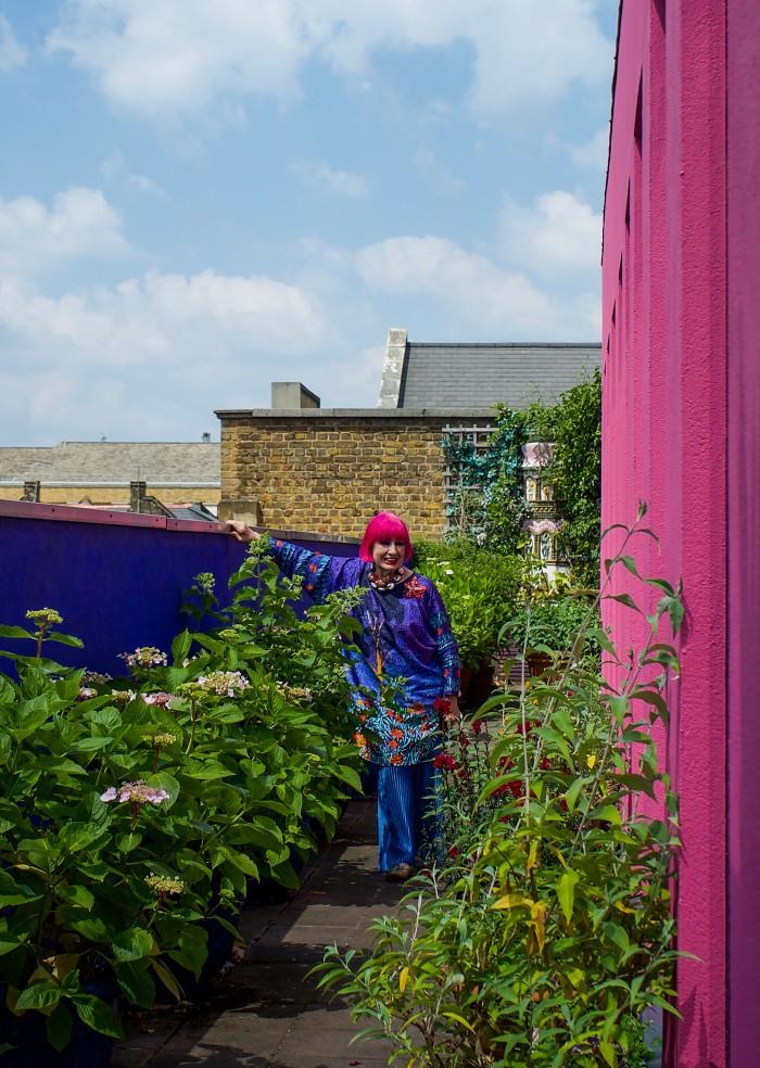 Rhodes outside her studio