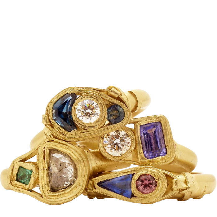 Fraser Hamilton 14ct-gold, diamond and sapphire rings, from £1,350