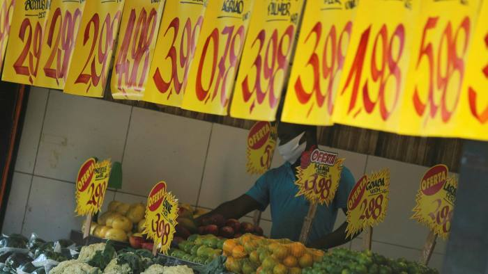 Prices are displayed at a market in Rio de Janeiro, Brazil, September 2, 2021