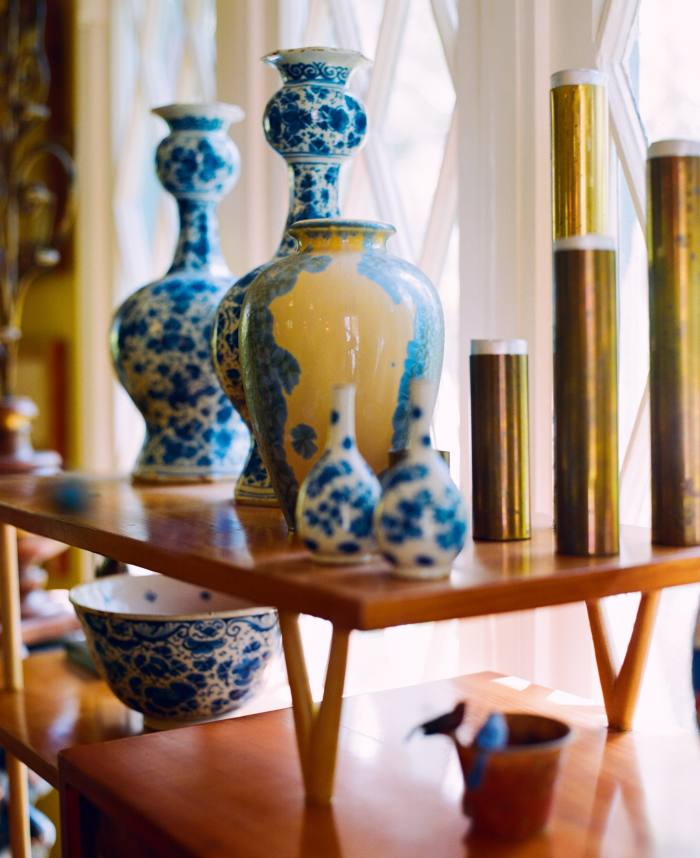 Delft vases from Wainwright's trips to the Netherlands