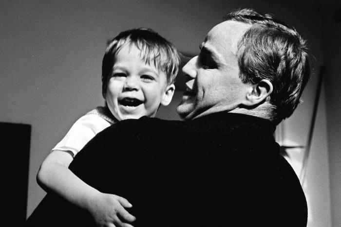 Marlon Brando and his son Christian in 1970