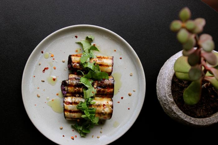 Grilled aubergine with basil and coriander seeds at Spry