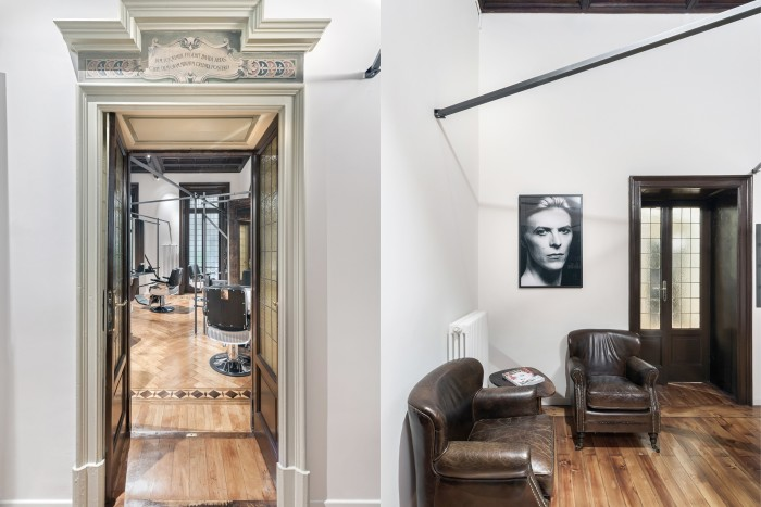 Gum hair salon is located in a gorgeous old apartment in Milan with beautiful period features