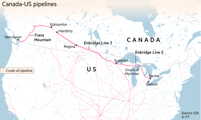 Map showing Canada-US pipeline